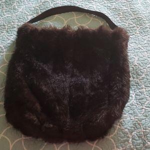 Faux fur oversized purse